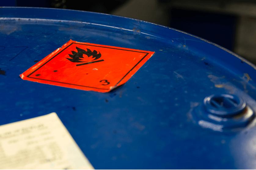 hazardous waste container label