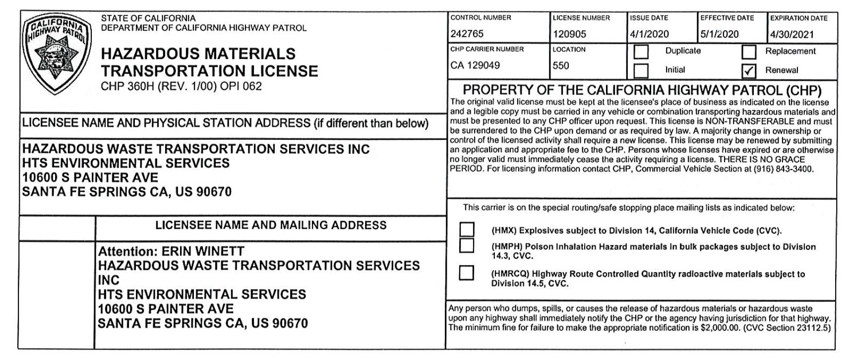 hazardous materials permits insurance license certificate registration phmsa usdot waste transportation